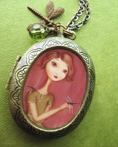 Locket - Lady of the Dragonflies antique locket  - adorable