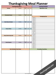 Thanksgiving Meal Planner - FREE Printable
