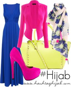 Blue long dress with pink blazer and shawl white blue | Hijab Outfit