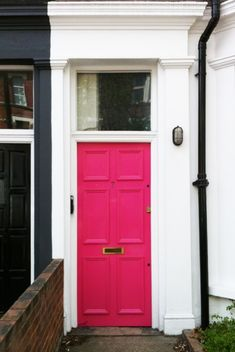 Hot pink door. oohh I'm tempted to paint my front door this color...and then see my husband face when he comes home from work! HA HA HA = priceless