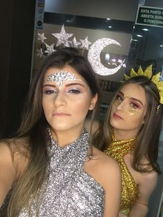 Constellation Fantasy / Carnival Inspiration ✨ - New Ideas - Fantasia constelação / Inspiração carnaval ✨ Const - Best Friend Halloween Costumes, Last Minute Halloween Costumes, Halloween Looks, Halloween Outfits, Costumes For Teens, Cute Costumes, Group Costumes, Sun And Moon Costume, Karneval Diy