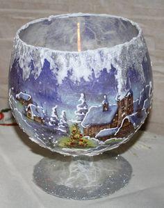 Painted Wine Bottles, Painted Wine Glasses, Handmade Christmas, Christmas Crafts, Christmas Ornaments, Christmas Centerpieces, Christmas Decorations, Decoupage Glass, Christmas Decoupage