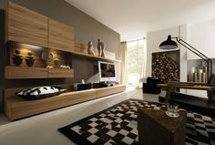 Lovely Simple Brown Spacious Living Room From Hulsta