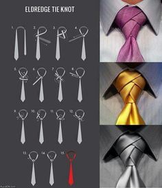 Ferrera Fresh Tip: Try the Eldredge knot, its pretty cool and other might dig it! At Michael Ferrera Clothing we've been exploring the Eldredge knot. How does one tie the Eldredge knot, and when is it Cool Tie Knots, Cool Ties, How To Tie Knots, How Tie A Tie, Eldredge Knot, Tie A Necktie, Necktie Knots, Cravat Tie, Scarf Knots