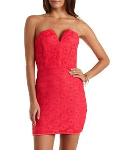 Notched Strapless Lace Dress by Charlotte Russe - Rouge Red