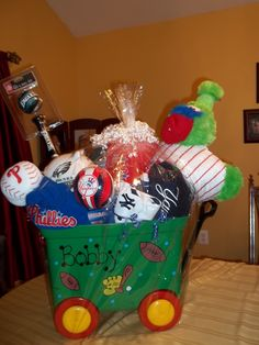 My brother & his wife are having a baby! I didnt want to buy a swing or highchair , I wanted it to be different. So my brother is a Yankees fan, his wife is a Phillies fan & both love the Eagles so i made a HUGE basket full of sports things like pjs,a pillow pet,football, baseball & bat, blanket ,a puzzle plus much more! It came out really cute and was personal!!!! Just what i wanted for my new nephew!!!!