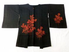 Japanese Vintage Kimono Haori Silk Black Tree Good Condition P012558   eBay