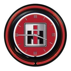 """Case IH Square logo Double Neon Wall Clock diameter Square Logo Black outer housing Double neon light ring Requires one """"AA"""" battery (not included) AC adapter included- Navistar International, International Harvester, Case Tractors, Ford Tractors, Neon Clock, Square Logo, Case Ih, Outdoor Brands, Country Life"""