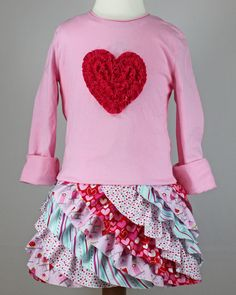Fluffy Ruffle T-shirt Dress pdf sewing pattern toddler girl Valentines ruffled rosette. $7.95, via Etsy.