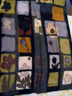 Mod ECHO 100% Silk Scarf Color Blocked w Floral Scenes Oblong 11x54 Chic #Echo #Scarf #casual