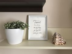 """Beautiful """"Travel"""" framed quote"""