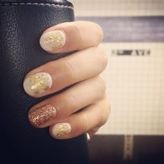 white w/ gold flakes. glitter nail accent | Yelp