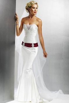 Ruching Belt Strapless Satin Mermaid Wedding Dress
