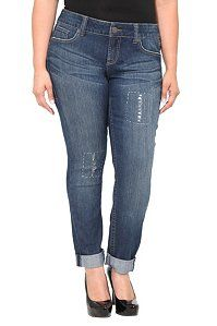 Torrid Denim - Distressed Rolled Cuff Skinny Jeans | Skinny