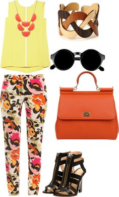 """""""neon floral"""" by brieweaver on Polyvore"""