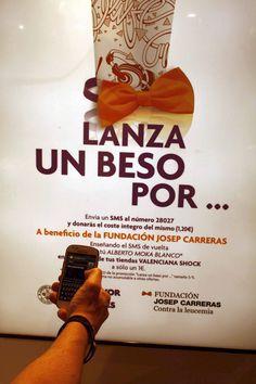 Del 1 al 15 de octubre de 2014, #LanzaUnBesoPor la Fundación Josep Carreras. Si quieres colaborar, sólo has de mandar un SMS con el texto 'NoLeucemia' al número 28027 (coste 1,20€), y donarás el coste íntegro del mismo a la Fundación. Además, si nos enseñas el SMS de vuelta podrás disfrutar en nuestras heladerías de un Alberto Moka Blanco por sólo 1 €.  www.valencianashock.com