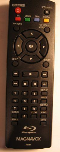 Magnavox Remote Control NB954UD for Magnavox Blue Ray Disc/DVD Players by Magnavox. $28.99. You are purchasing a new original remote made for the Magnavox Blue-Ray Disc / DVD Player models MBP5120F,  MBP5120F/F7, MBP5120F/F7E, MBP5130, MBP5130/F7 and MMT9060. Special features on the remote include STANDBY/ON, OPEN/CLOSE, RED, GREEN, BLUE, YELLOW, TOP MENU, POP MENU/MENU, OK, SETUP, RETURN, DISPLAY, ANGLE, SUBTITLE, SEARCH, CLEAR, AUDIO, REPEAT and MODE.