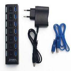 7+PORT+USB+3.0+HUB+High+Speed+Power+On/Off+Switch+Desktop+Laptop+Notebook+(400830820918)