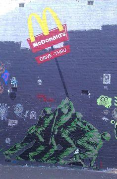 Imperialism by Banksy, Sydney, Australia Urban Street Art, 3d Street Art, Street Art Graffiti, Street Artists, Urban Art, Banksy Graffiti, Amazing Street Art, Amazing Art, Mr Brainwash