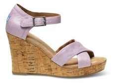 Toms Womens Strappy Wedge Lilac Metallic Linen 10 ** You can get additional details at the image link.(This is an Amazon affiliate link and I receive a commission for the sales)