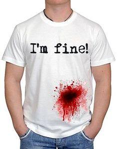 I'M FINE GUN BLOOD WOUND ZOMBIE NERD KLLER FUNNY UNISEX T-SHIRT ALL SIZE-S-3XL