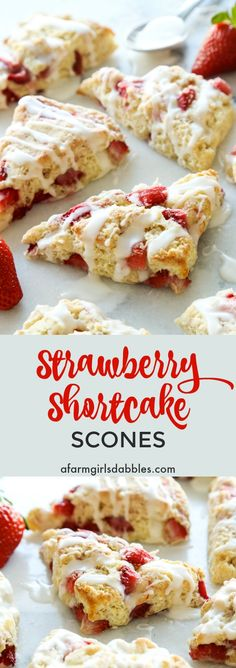 Strawberry Shortcake Scones from afarmgirlsdabbles.com - buttery, golden scones studded with juicy strawberries and drizzled with a vanilla cream glaze #scones #strawberry