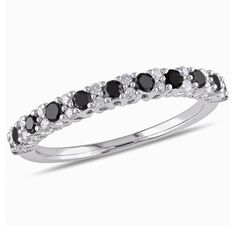 Enhanced Black and White Diamond Anniversary Band in Sterling Silver White Diamond Ring, Eternity Ring Diamond, Silver Wedding Bands, Diamond Wedding Bands, Wedding Rings, Diamond Anniversary Bands, Silver Anniversary, Anniversary Rings, Black Rings