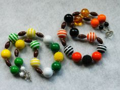 Ready for the Civil war GAME!?! Football Chunky Bubblegum Bead Necklace by ParadiseJewelryofCP, $19.00