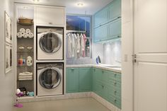Modelo Lavanderia Pequena Dalmóbile! Stacked Washer Dryer, Washer And Dryer, Laundry, Home Appliances, Bath, Laundry Room Small, Home Decor, Environment, Woodworking