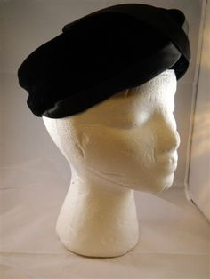Vintage 1960s Hat / Black Hat / Turban Hat by VintageBaublesnBits, $15.00