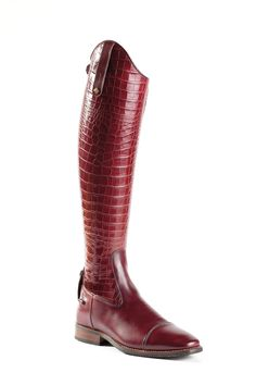 The DeNiro Wine Croc Riding Boots are a beautiful and unique style that is available with or without laces. This boot comes with foot and inner leg patch in grain calfskin leather, rear zipper, bottom zip guard, leg in croco Malibu Wine Leather. Equestrian Boots, Equestrian Outfits, Equestrian Style, Equestrian Fashion, Tall Boots, High Boots, Shoe Boots, Shoes, Horse Riding Boots