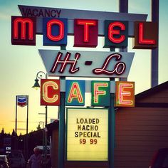 Dinner last night at the Hi-Lo Cafe in Weed CA. Love the retro neon sign - it even goes with the classic retro dinner menu. Perfect.