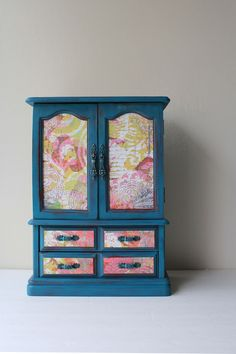 Upcycled Hand Painted Teal Vintage Jewelry Box