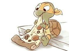 so freakin cute, artist unk/Mikey. omg so cute TMNT Cartoon Cartoon, Teenage Mutant Ninja Turtles, Ninja Turtles Cartoon, Ninja Turtle Drawing, Ninja Turtle Tattoos, Turtle Sketch, Ninja Turtle Pizza, Chibi, Arte Disney