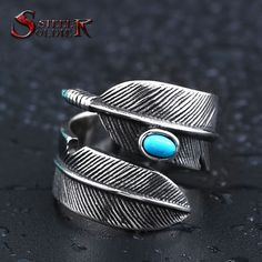Steel soldier wholesale stainless steel feather with stone opening ring popular jewelry for Japan