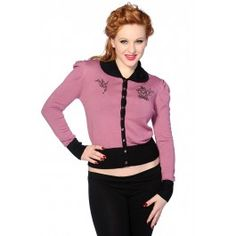 Cardigan Gilet Pin-Up Rétro 50's Glamour Noir Rose
