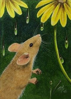Tiny Mouse And Flower Art by Melody Lea Lamb ACEO by MelodyLeaLamb, $6.25