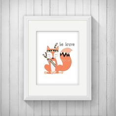 Be Brave Tribal Fox Nursery Wall Art Poster Printable, Woodland Baby Shower Gift, Feather Bedroom Decor, Camping Playroom Decor, Download