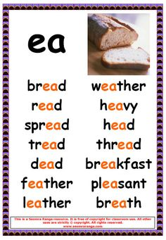 Phonics Poster – short /e/ ea Words 2 Phonics Reading, Teaching Phonics, Teaching Aids, Teaching Reading, Dyslexia Teaching, English Words, English Lessons, Learn English, English Language