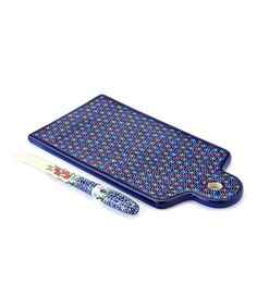 This Rainbow Polka Dot Cutting Board & Knife Set by Lidia's Polish Pottery is perfect! #zulilyfinds