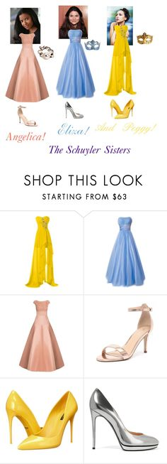 """The Schuyler Sisters-Hamilton-Prom"" by silverbellatrix ❤ liked on Polyvore featuring Jason Wu, Verali, Dolce&Gabbana, Casadei and Masquerade"