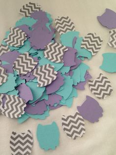 Purple and Aqua Baby Shower Decor - chevron owl cutouts available on etsy Baby Shower Cakes, Baby Shower Themes, Baby Shower Decorations, Shower Ideas, Baby Shower Purple, Purple Baby, Baby Shower Dresses, Baby Shower Gender Reveal, Baby Sprinkle