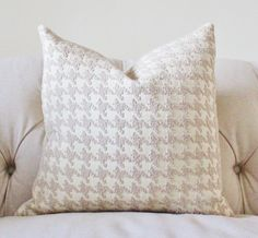 Decorative Designer Pillow - Taupe Creme and Ivory Houndstooth Designer Cover - Modern Beige Throw Pillow