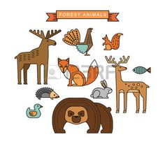 Vector illustrations of forest animals. Trendy linear design elements. Illustration