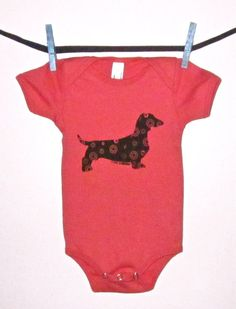 Dachshund Baby OnePiece / Tee in Pomegranate Red by HappyFantastic, $20.00