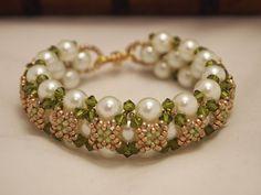 Beaded Jewelry Swarovski Pearls Bracelet Green by Sofiesticate, $45.00