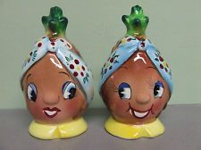 PY Anthropomorphic Pineapple Ladies Salt & Pepper Shakers  @A Lifetime Legacy