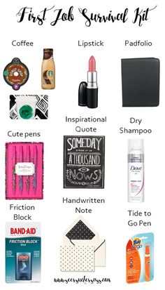 First Job Survival Kit - tips and tricks for supplies you'll need to survive your first job! Also a great gift idea for post-grad friends! Office Survival Kit, New Job Survival Kit, Survival Supplies, Survival Tips, Wilderness Survival, Diy Craft Projects, Crafts, Cute Pens, Band Aid