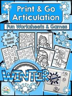 Winter Theme Articulation Print & Go for Speech Therapy by teachingtalking.com