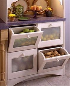 Tilt-Out Vegetable Bins _ Awesome Small Kitchen Appliance Storage Ideas